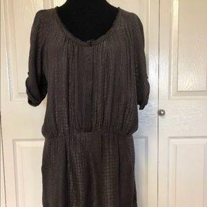 Rebecca Taylor 100% Silk Embossed Gray Dress Sz 8